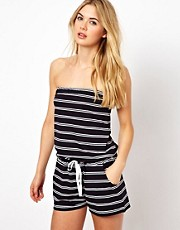 ASOS Stripe Bandeau Beach Playsuit