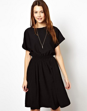 ASOS Midi Skater Dress With Textured T-Shirt - Black