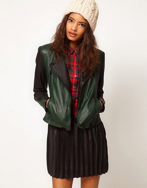 Image 1 ofASOS Colourblock Leather Biker Jacket