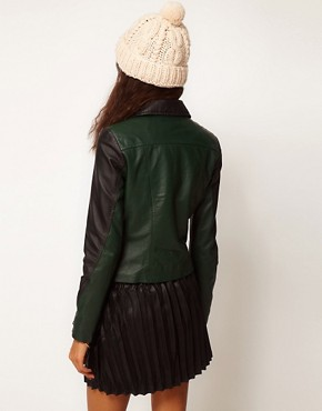 Image 2 ofASOS Colourblock Leather Biker Jacket