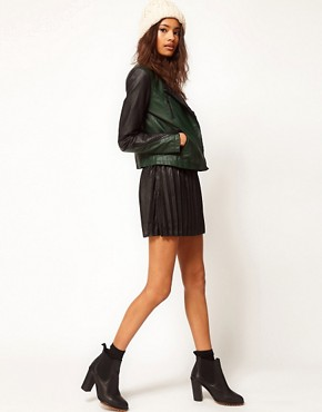 Image 4 ofASOS Colourblock Leather Biker Jacket