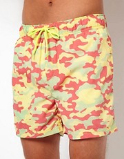Humor Neon Camo Swim Shorts