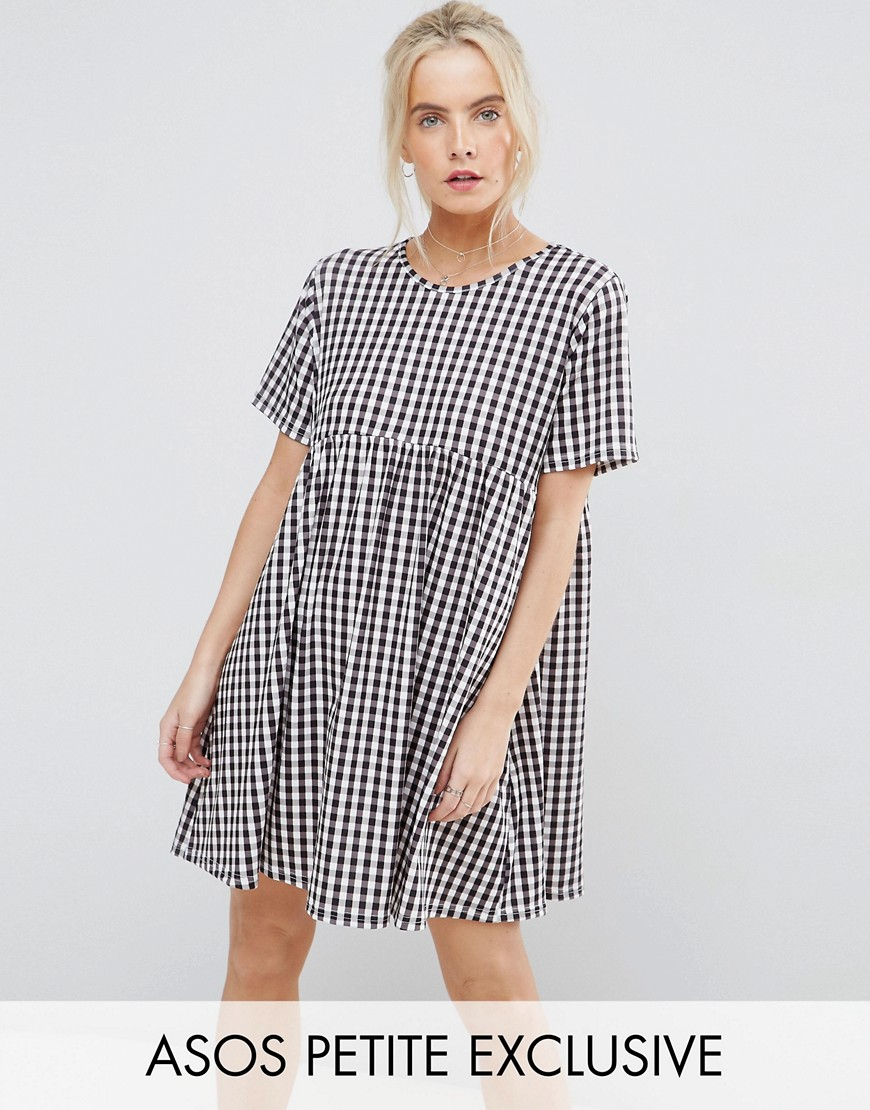ASOS PETITE Ultimate Smock Dress in Gingham Print - Multi
