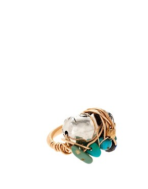 Image 1 of Kat&Bee Marcia 14ct Gold Skull & Turquoise Bead Ring