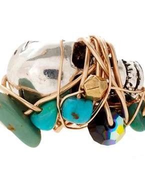 Image 4 of Kat&Bee Marcia 14ct Gold Skull & Turquoise Bead Ring
