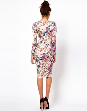 Image 2 ofASOS V-Neck Dress With Jewel Flower Print