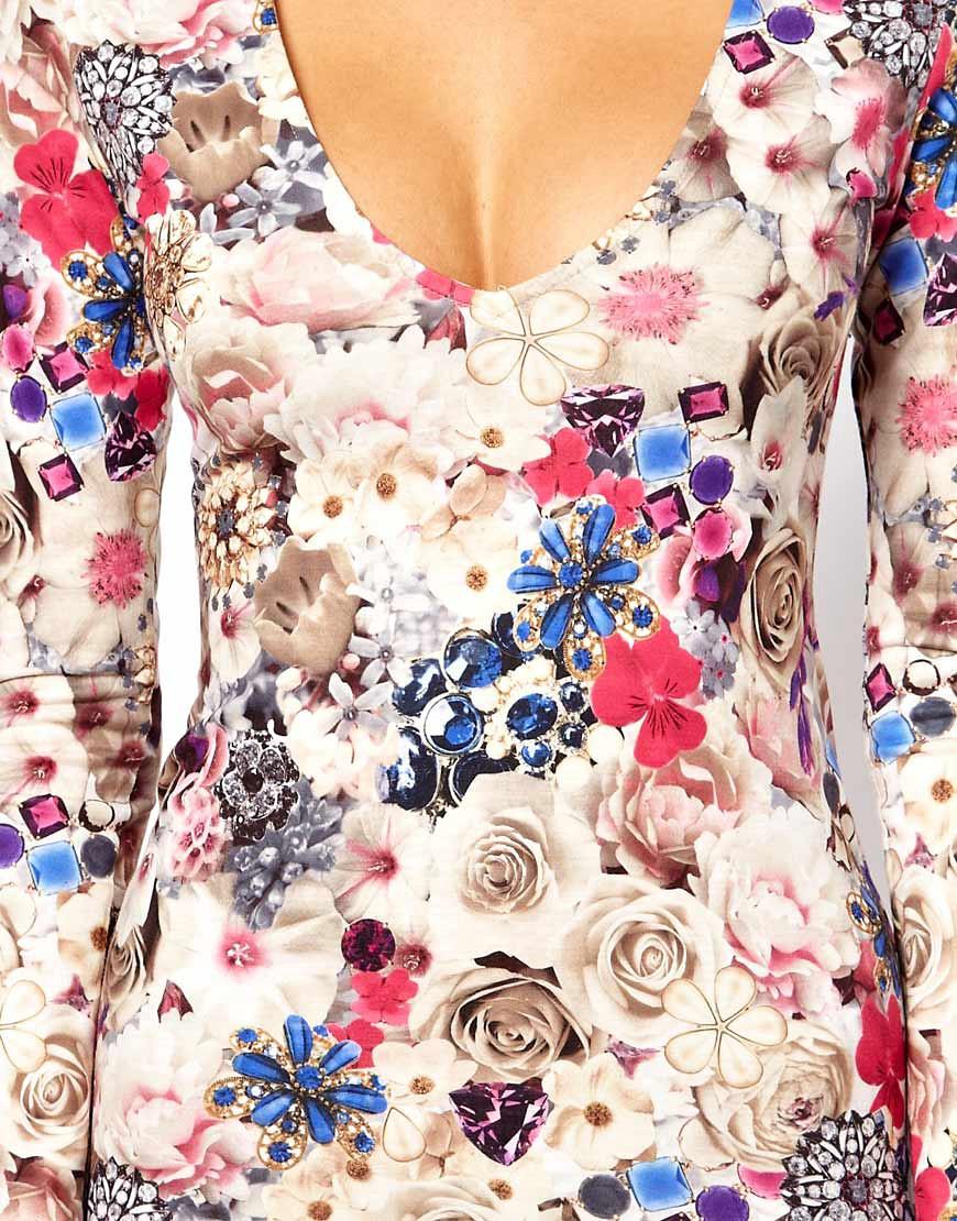 Image 3 ofASOS V-Neck Dress With Jewel Flower Print