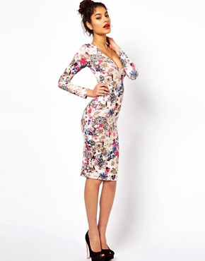 Image 4 ofASOS V-Neck Dress With Jewel Flower Print