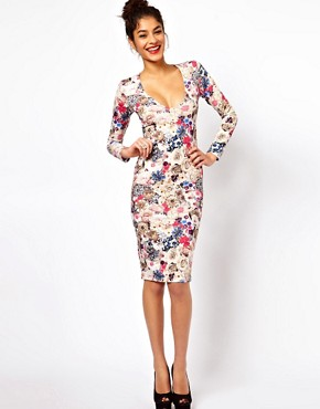 Image 1 ofASOS V-Neck Dress With Jewel Flower Print