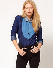 ASOS Colour Block Shirt with Bib Detail