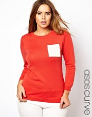 ASOS CURVE Exclusive Jumper With Contrast Pockets