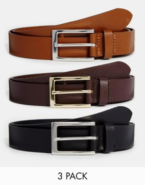 ASOS Smart Leather Belt 3 Pack SAVE 17%