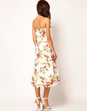 Image 2 ofWarehouse Hibiscus Bandeau Dress