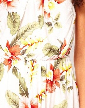Image 3 ofWarehouse Hibiscus Bandeau Dress