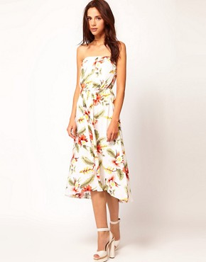 Image 4 ofWarehouse Hibiscus Bandeau Dress