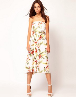 Image 1 ofWarehouse Hibiscus Bandeau Dress