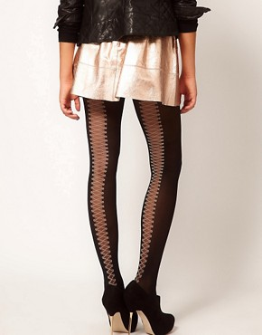 Image 1 ofGipsy Mock Back Lace Up Tights