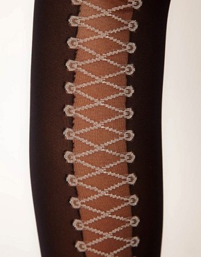 Image 2 ofGipsy Mock Back Lace Up Tights