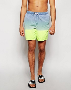 ASOS Swim Shorts In Mid Length With Acid Wash