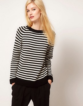 Image 1 ofBoutique by Jaeger Alexa Sweater in Fine Stripe