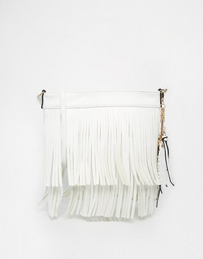 ALDO White ACross body Bag with fringe detail