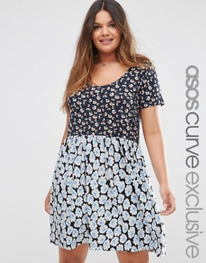 ASOS CURVE Smock Dress In Mixed Ditsy Floral Prints