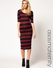 ASOS Maternity Exclusive Midi Dress In Stripe