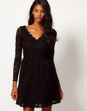 Image 1 ofASOS Skater Dress in Lace with Scallop Neck