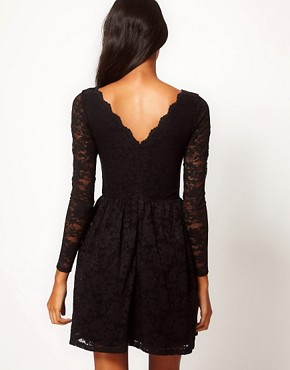 Image 2 ofASOS Skater Dress in Lace with Scallop Neck