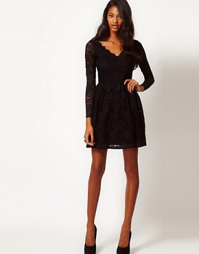 Image 4 ofASOS Skater Dress in Lace with Scallop Neck