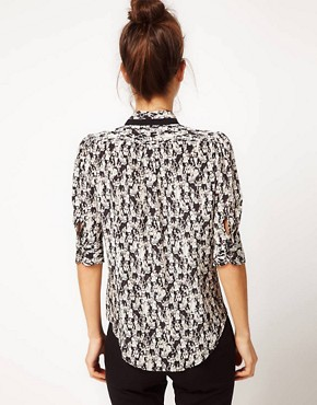 Image 2 ofPeter Jensen Raw Seam Blouse In Jazz Club Print Silk