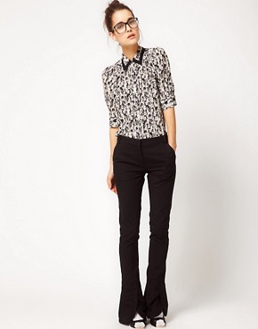 Image 4 ofPeter Jensen Raw Seam Blouse In Jazz Club Print Silk