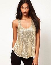 ASOS Sequin Vest With Chiffon Back