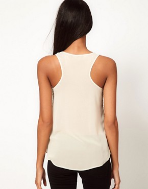 Image 2 of ASOS Sequin Tank With Chiffon Back