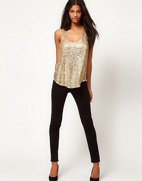 Image 4 of ASOS Sequin Tank With Chiffon Back