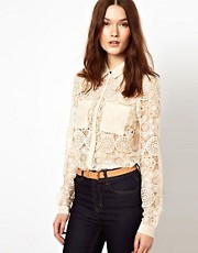 Warehouse Lace Shirt with Chiffon Pocket