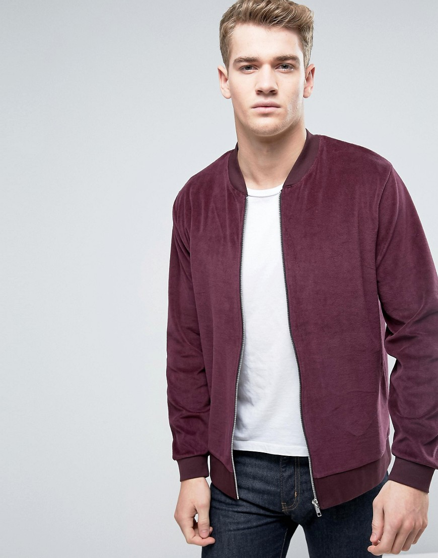 ASOS Velour Bomber Jacket In Burgundy - Red