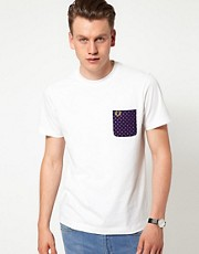 Fred Perry T-Shirt with Paisley Print Pocket EXCLUSIVE