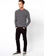 ASOS Stripe Jumper with Elbow Patches