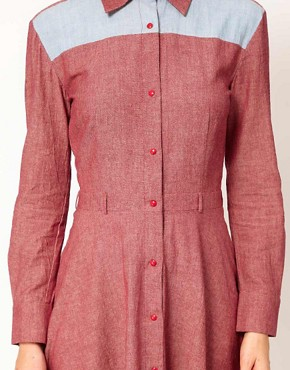 Image 3 ofHouse of Holland Chambray Western Shirt Dress