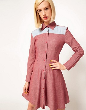 Image 1 ofHouse of Holland Chambray Western Shirt Dress
