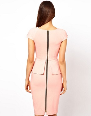Image 2 ofHybrid Pencil Dress With Plunge Zip Front and Satin Inserts