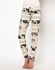 Current/Elliott Tribal Fringed Skinny Jeans