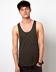 ASOS Vest With Hem Embroidery And Extreme Racer Back