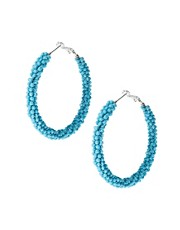 Kenneth Jay Lane Beaded Hoop Earrings