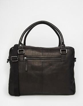 ASOS Leather Laptop Bag In Black