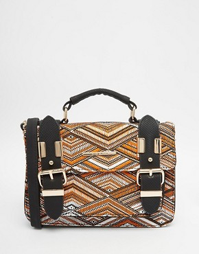 River Island Printed Mini Satchel With Black Trims