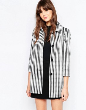 Helene Berman Short A-Line Coat In Uneven Stripe