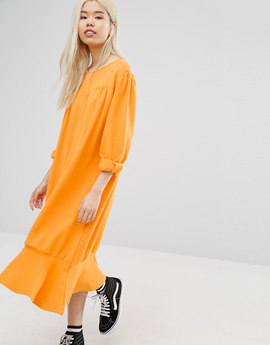 STYLENANDA Drop Hem Smock Dress - Orange