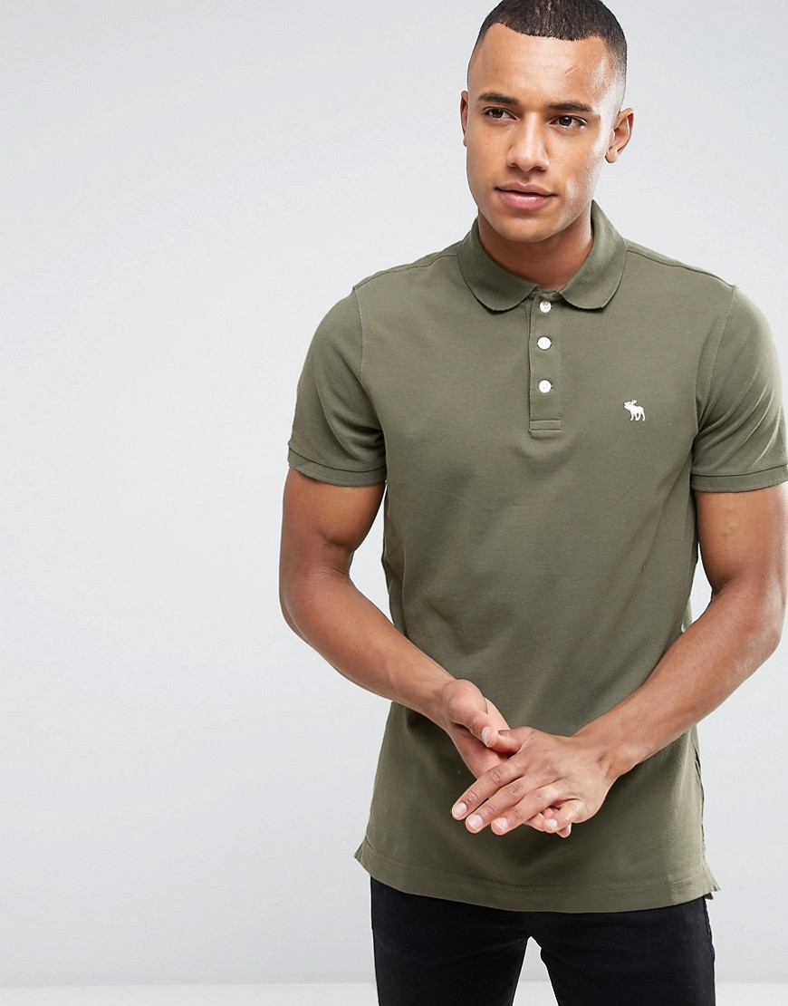 Abercrombie & Fitch Polo Muscle Slim Fit Stretch Pique in Green - Green